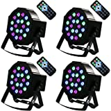 Missyee LED Par Light Stage Party Lights With Remote Controls 18X3W Stage Lighting With Full RGB Color for Club DJ Show Disco Party DMX512 ( 4 pack)