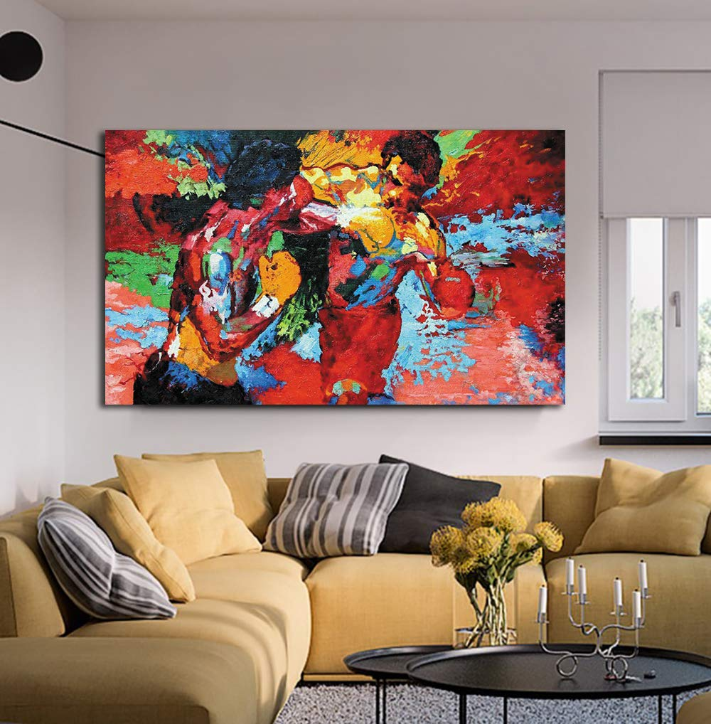 Modern Movie Poster Boxing Sports Colorful Canvas HD Print Wall Art for Dining Room Rocky vs Apollo Picture Drawing Room Decor Artwork Framed and Stretched (24x36inch(60x90cm))