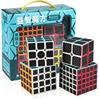 D-Fantix Zcube Carbon Fiber Speed Cube Bundle Pack 2x2 3x3 4x4 5x5 Magic Cube Collection Set Puzzle Toys