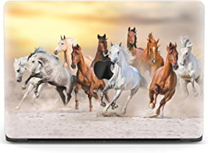 Mertak Hard Case for Apple MacBook Pro 16 Air 13 inch Mac 15 Retina 12 11 2020 2019 2018 2017 Design Western Cover Wild Plastic Herd Running Horses Touch Bar Clear Print Nature Animal Laptop