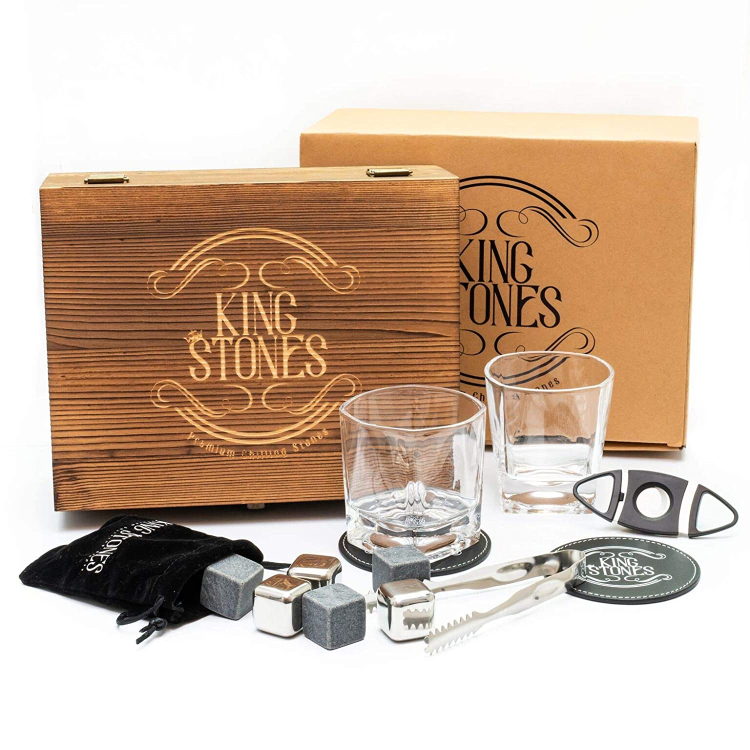Whiskey Stones Gift Set – Whisky Rocks and Stainless Steel Ice Cubes for Chilling Scotch and Bourbon, Engraved Wooden Case, 2 Large Glasses, Cigar Cutter, 2 Leather Coasters, Tongs and Velvet Bag