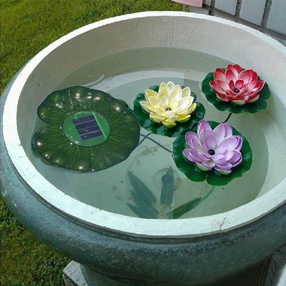 Solar Floating LED Lotus Light Flower Lamp LED Accent Light for Pool Pond Garden Night Light Koi Pond Pool Aquarium and Wedding Decoration MUEQU Solar 3 LEDs Lotus Flower Light