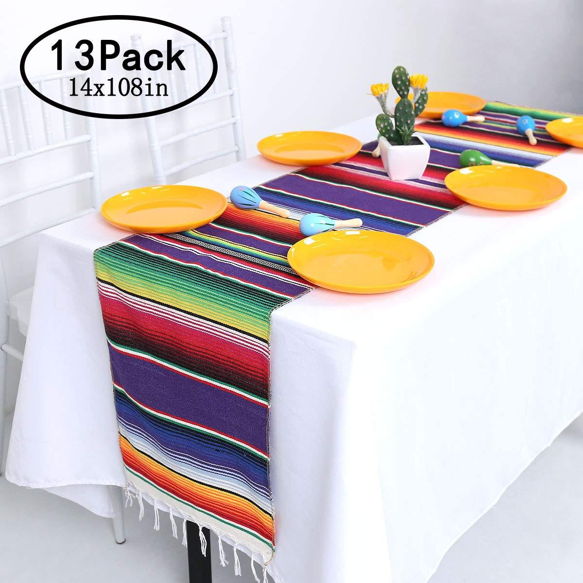 Helaku Mexican Table Runner Mexican Runner for Mexican Fiesta Party Decorations 13 Pack 14x108inches by Helaku