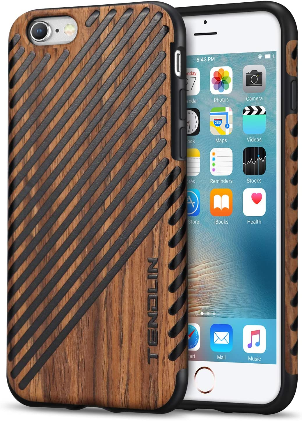 TENDLIN iPhone 6s Case Wood Veneer Soft TPU Silicone Hybrid Slim Case for iPhone 6 6s (Wood & Leather)