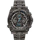Bulova Men's Designer Chronograph Watch Stainless Steel Bracelet -  Grey W/ Blue Hands Precisionist Wrist Watch 98G229