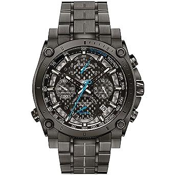 Bulova Precisionist 98G229 - Reloj de Pulsera de diseño para Hombre - Función de cronógrafo - Acero Inoxidable - Gris con manecillas Azules: Amazon.es: ...