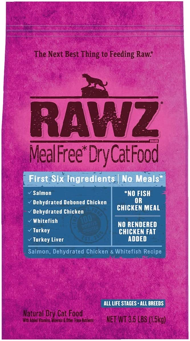 RAWZ Dehydrated Salmon, Chicken and Whitefish Recipe for Cats - 3.5 LB BAG