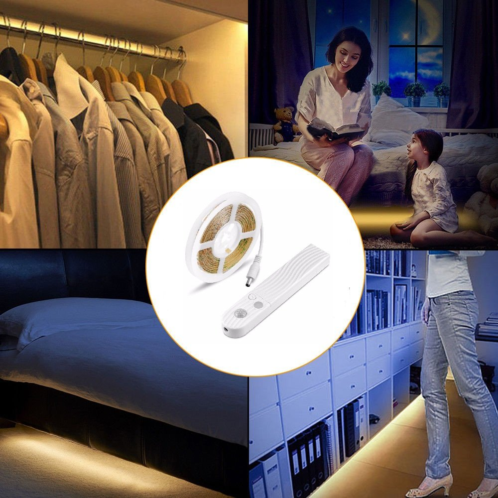Tiras Leds Iluminación, Brand 45LED 1.5M Luz Armario Luces LED Nocturna con Sensor de Movimiento para Pasillo Baño Cocina Escalera (funciona con 4 pilas AAA, No Incluidas)