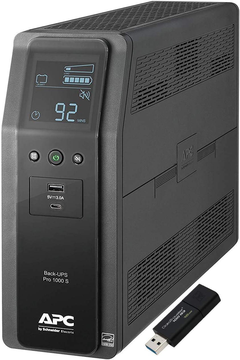 APC Sine Wave UPS Battery Backup & Surge Protector, 1000VA, APC Back-UPS Pro (BR1000MS) Bundle Including 16GB DataTraveler