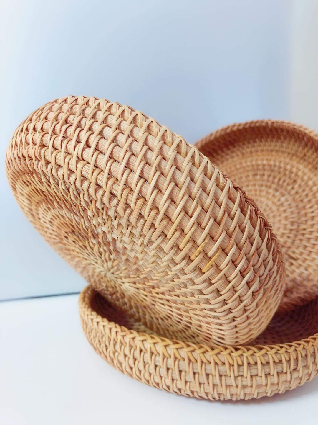 Rattan Basket Dried Fruit Basket Woven Basket Basket For Gifts Fruit Baskets Wicker Picnic Basket Wicker Basket Candy Basket 2019 Organizer Shallow Basket Gift Baskets For Women (2PCs wicker basekt) by TIMESFRIEND (Image #4)