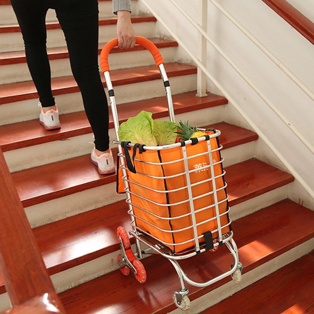 NAN 食料品カートを購入する階段の8ラウンド小型カートホームトロリープラーフォールディングポータブルプルカートトレーラー トレーラー (色 : オレンジ) B07DZMZ11Q  オレンジ
