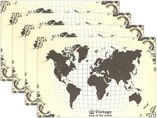 Mapa del mundo manteles individuales alfombrilla de mesa, 12