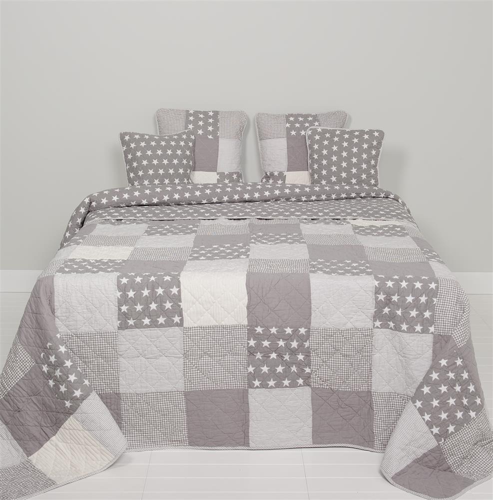 Clayre & Eef Q095.061 Tagesdecke Quilt Plaid GREYSTAR grau weiß 230x260cm