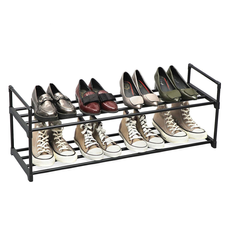SONGMICS Zapatero de 2 Niveles Vest/íbulo y Armario Entrada Estantes Met/álicos para Guardar hasta 10 Pares de Zapatos 92 x 30 x 33 cm para Sala de Estar Negro LSA12BK