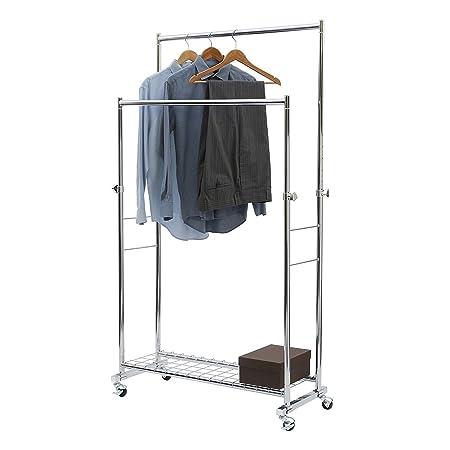 seville classics commercial double rod garment rack rh amazon com Clothing Racks Boutique Wire Storage Racks
