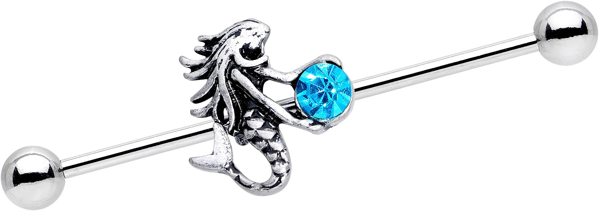 Body Candy Stainless Steel Brilliant Blue Accent Windmill Flower Industrial Barbell 14 Gauge 38mm