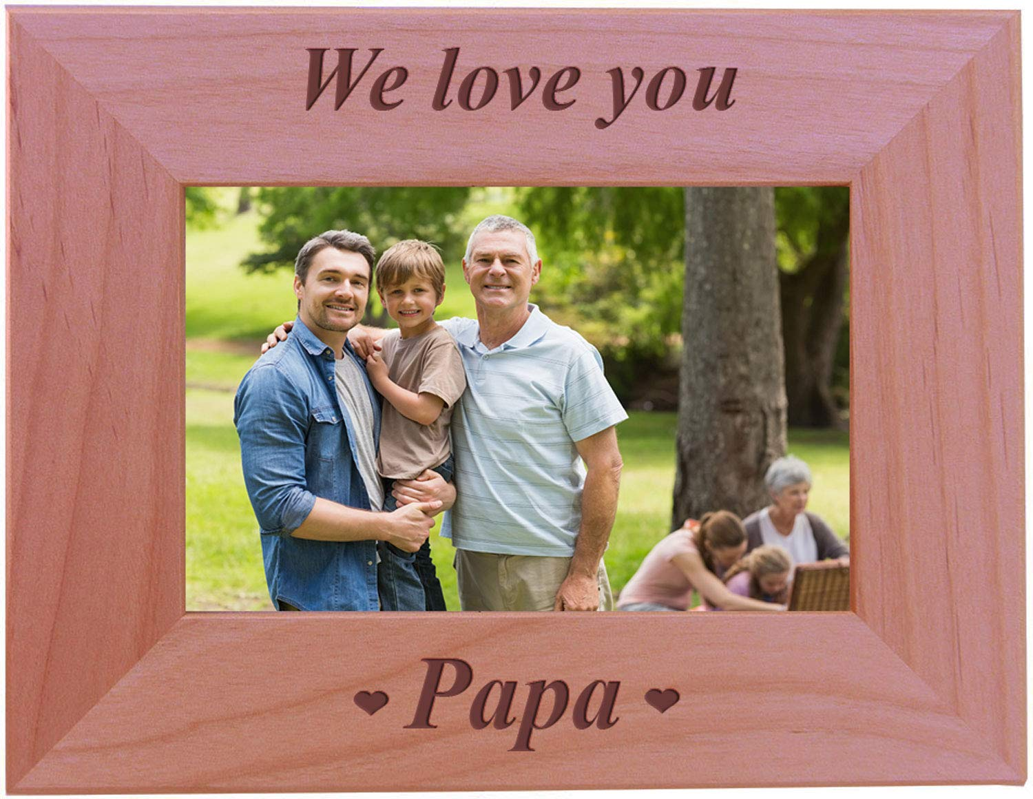 Amazon.com - CustomGiftsNow We Love You Papa - Engraved Wood Picture ...