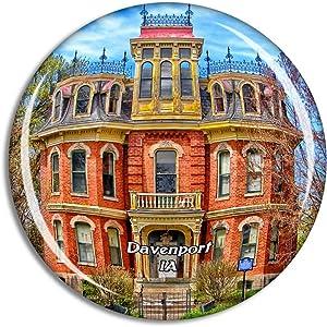 Davenport Iowa USA Magnet Travel Souvenir 3D Crystal Glass Collection Gift Refrigerator Sticker