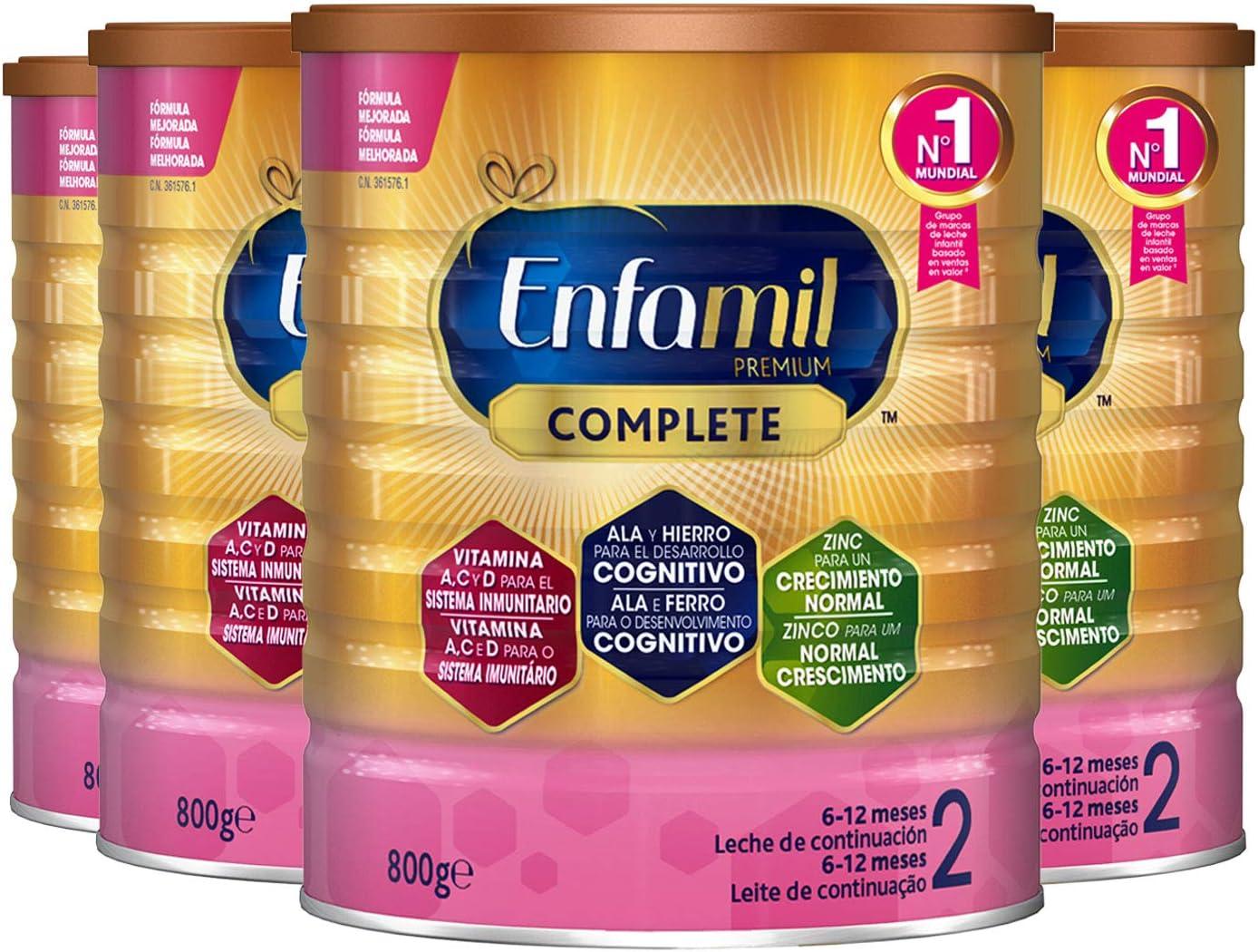 Enfamil Premium 2 - Leche infantil de Continuacion para Lactantes bebés de 6 a 12 Meses, 800 g | Pack de 4 Unidades - Consumo de 1 mes