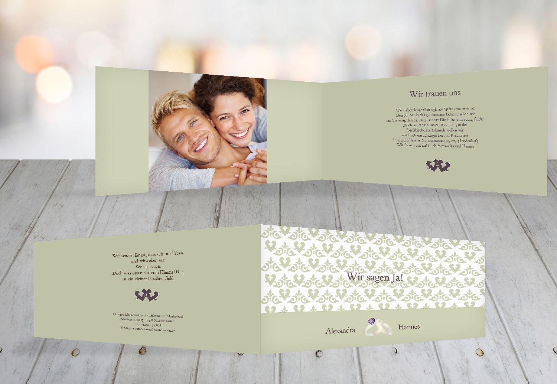 Kartenparadies Hochzeitskarte Einladung Ornament mit Herz, hochwertige Einladung zur Heirat inklusive Umschläge   10 Karten - (Format  215x105 mm) Farbe  Rosadunkellila B01MTB8LM0 | Erste Qualität  | Starker Wert  | Großhandel