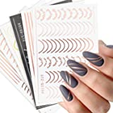 Line Nail Art Stickers Decals Metal Line Nail Supply Rose Gold 3D Self-Adhesive Nail Decals Metal Curve Stripe Lines Design L
