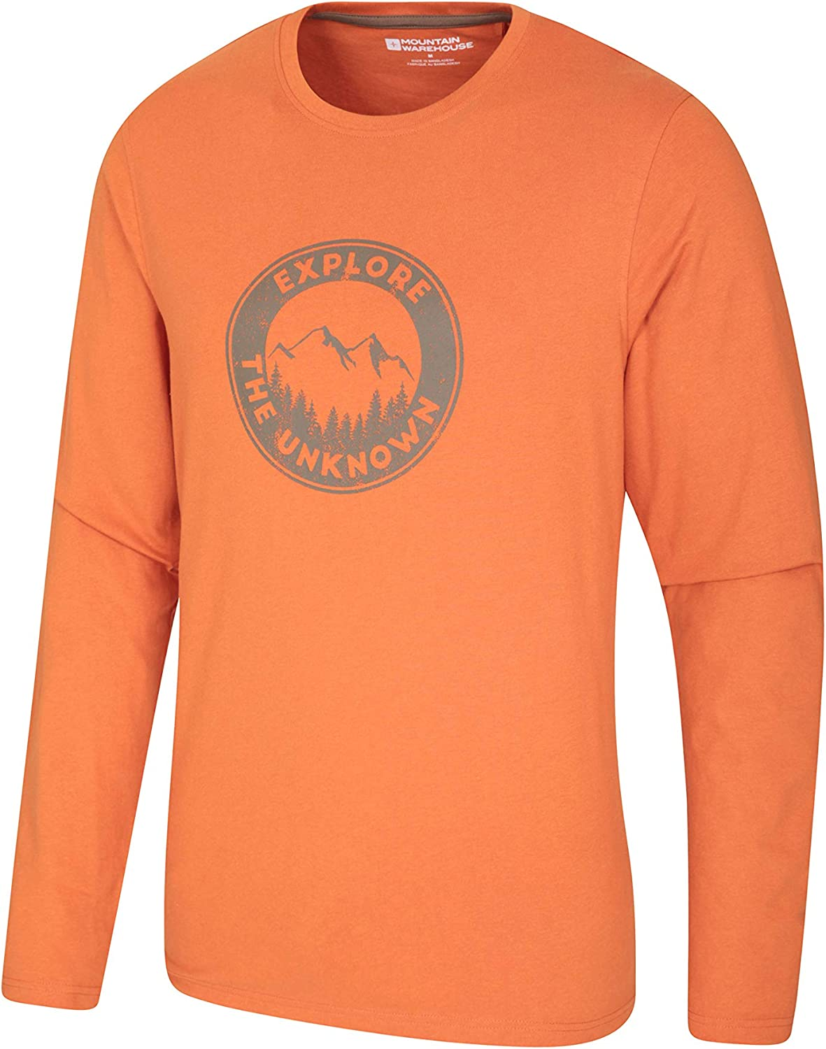 Mountain Warehouse Explore The Unknown Mens Long Sleeve Tee Breathable Top Sports Ideal for Gym Easy Care Running /& Cycling Lightweight T-Shirt