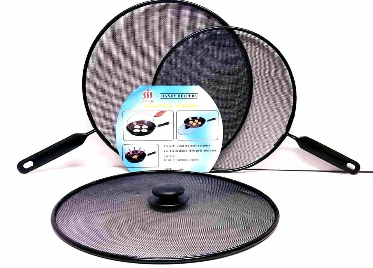 Ik-Onkar pack of 3 Splatter screen Guard Set on Frying Pan Anti Splash Screen Cover Mesh Metal Wired 2x 28 diameter 1x 24 diameter ktn