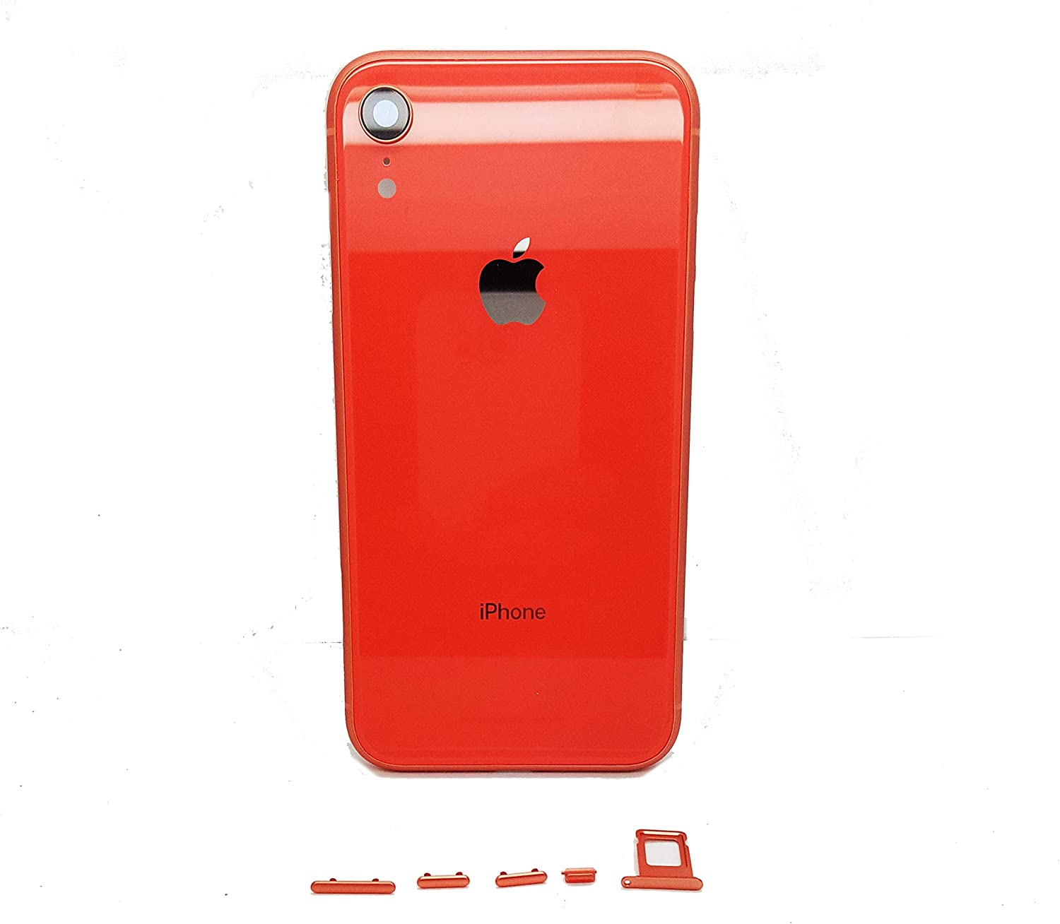 Replacement Back Rear Glass Chassis Frame for iPhone XR Back Battery Cover Mid Frame Assembly + Logo (Coral)