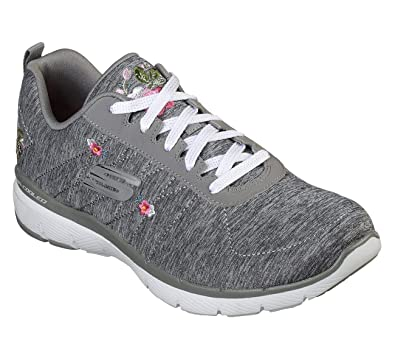 73204609976 Skechers Women s Flex Appeal 3.0 - in Blossom Grey Floral Lace Up Trainer   Amazon.co.uk  Shoes   Bags
