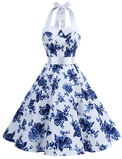 1dc306f3e2ecc Dressystar Robe de Bal Polka Vintage pin-up à 'Audrey Hepburn' 50's 60's  Rockabilly Halter,Dos Nu, à Pois