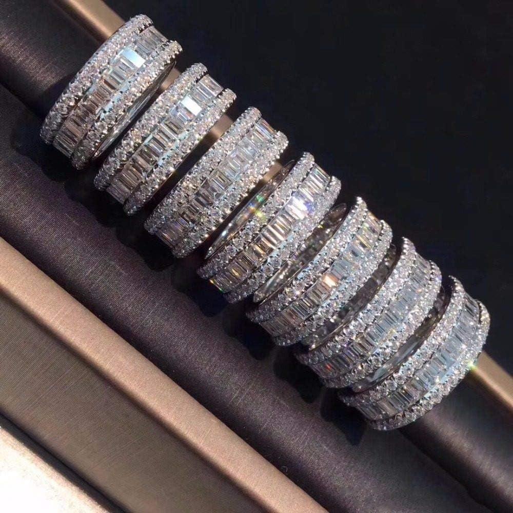 MYLDML Anillo Párrafo Lujoso Moda 925 Anillo de Piedras Preciosas de Plata esterlina Cuadrado Brillante Anillos de Diamantes simulados completos Dedo para Regalo de Mujer