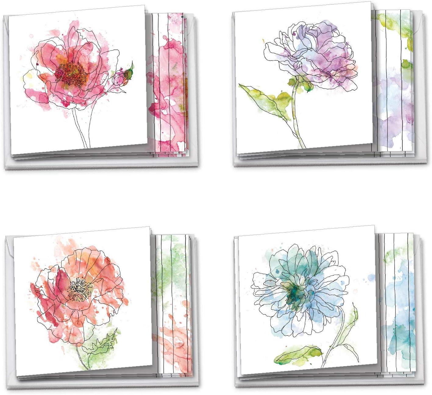 4.25 x 5.5 Rose Note Card Blank Single Printed Watercolor Notecard