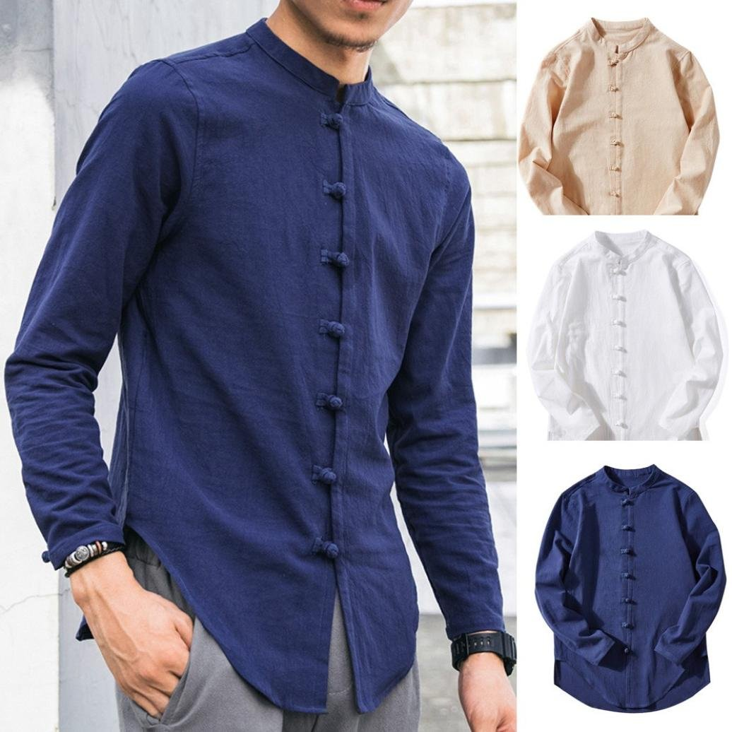 Realdo Mens Cotton Linen Cardigan, Casual Tops Summer Solid Long-Sleeve Button T-Shirt Blouse at Amazon Mens Clothing store:
