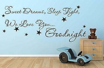 Sweet Dreams Sleep Tight We Love Wandsticker Zitat Vinyl Aufkleber ...