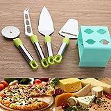 KAZE Pizzaschneider, Edelstahl Pizza Cutter mit Ständer Set, Spülmaschinengeeignet, Grasgrün + Mint