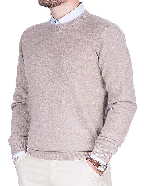 b3388572a0 Maglione Uomo Puro Cashmere 100% Lana Pullover a Manica Lunga con Girocollo  Soffice e Morbido
