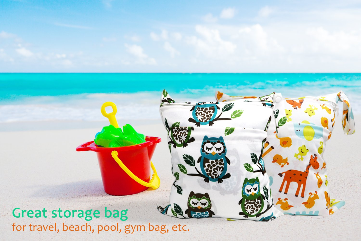 Owl + Giraffe Nappy Organizer Bag Breast Pump with 2 Pockets Washable /& Reusable Baby Wet and Dry Cloth Diaper Bags Underwear Multipurpose Travel Packing Organizer Bags for Swimsuit