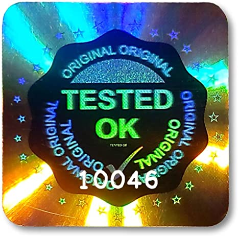 Tamper-Evident 0.8 Genuine QC Checked Tick Authentic 20mm Square Labels Original 294x LARGE TESTED OK Security Hologram Stickers Security Valid Quality-Checked Secure