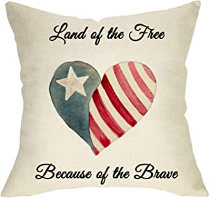 Fbcoo Land of the Free Because of the Brave Home Decorative Throw Pillow Cover America Flag Patriotic Cushion Case July 4th Independence Day Heart Sign Holiday Home Decoration Pillowcase Decor 18 x 18