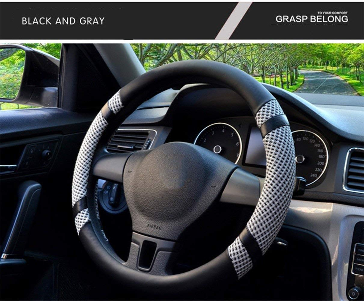 Warm in Winter and Cool in Summer Microfiber Leather and Viscose Steering Wheel Cover Breathable Anti-Slip Odorless Universal 15 Inches. Gray