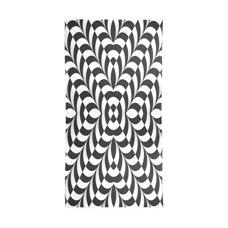 WDYSECRET Black And White Art Designs Silk Light Printing Custom Scarves for Women 70.86x35.4(in)