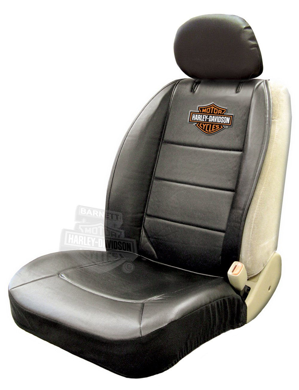 Single Harley-Davidson Seat Cover Sideless Black With Orange B/&S