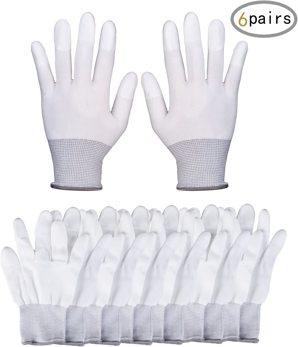 TWY 12 Pieces(6 Pairs) White Nylon Anti Static and Anti-Slip Gloves,Sewing Work Gloves Size Small to Medium