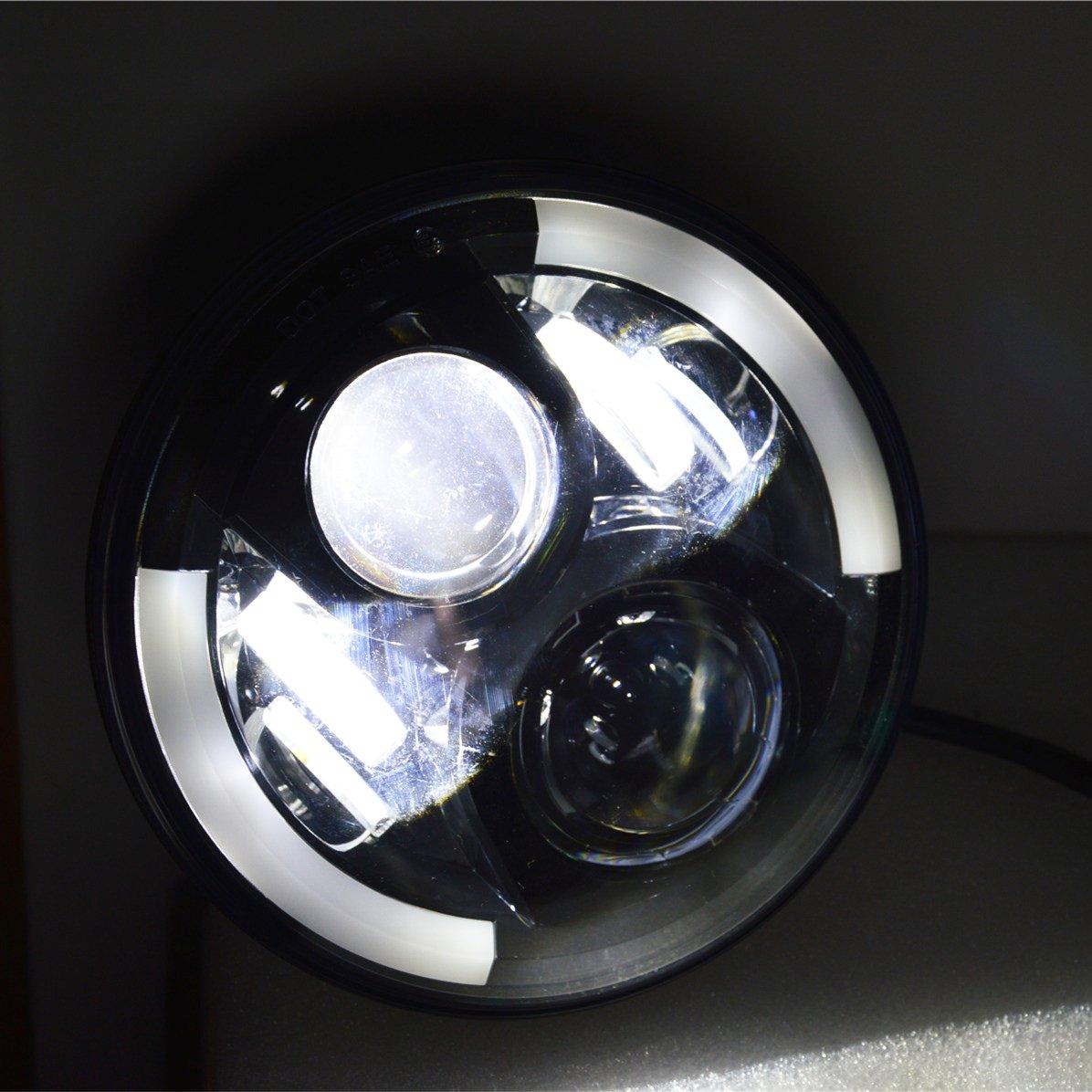 land rover defender 7 u0026 39  u0026 39  black led head lights great