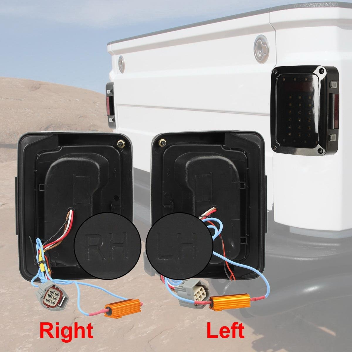 Vplus Pack Of 4 Black Rear Euro Tail Light Guard Cover 20032004 Toyota Sequoia Trailer Wiring Harness Pin Flat Style Protectors Led Lights Jk 2007 2017 Jeep Wrangler Running Brake Backup Reverse