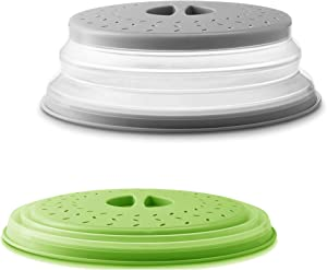 2Pcs JIUKE Vented Collapsible Microwave Cover for Food,Splatter Proof Guard Plate,Multipurpose Fruit and Vegetable Dish Drainer Basket,Easy Grip Dishwasher Safe,BPA-Free Silicone & Plastic