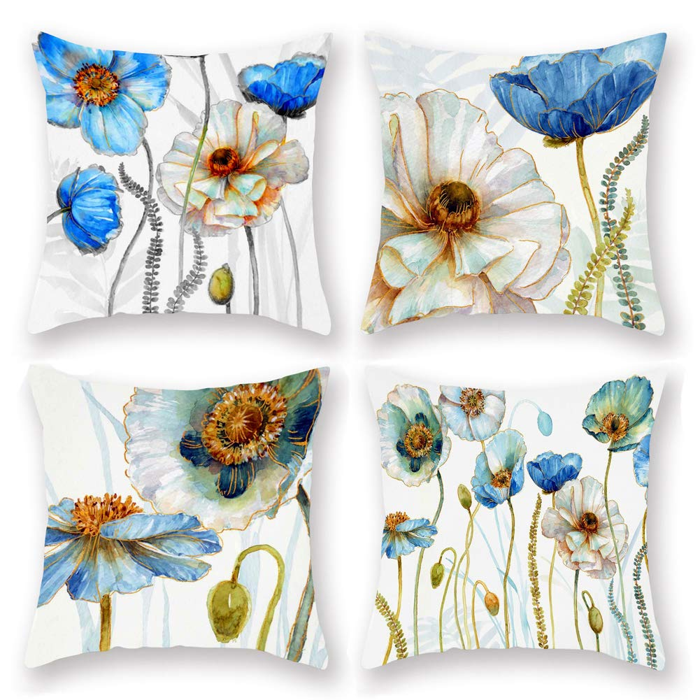 Aremetop Watercolor Flower Throw Pillow Covers Super Soft Short Plush Rustic Farmhouse Decor Cushion Cover 18''x18'' Square Pillow Case for Home Sofa Bedding Set of 4,Blue Poppies Leaves