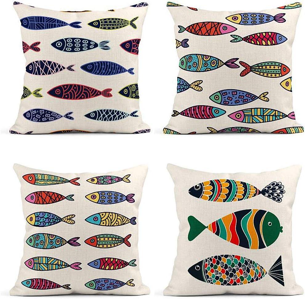 ArtSocket Set of 4 Throw Pillow Covers Blue Algae Cute Fish Kids Colorful Creative Animal Aquarium Aquatic Decor Linen Pillow Cases Home Decorative Square 18x18 Inches Pillowcases