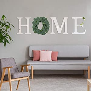 4 Pack Acrylic Home Sign Letter Wreath Set- 3pcs Decorative Mirror Wall Letter Ornaments+ Artificial Eucalyptus Leaves Round Garland Rustic Farmhouse Wall Decoration for Home Living Room Bedroom Decor