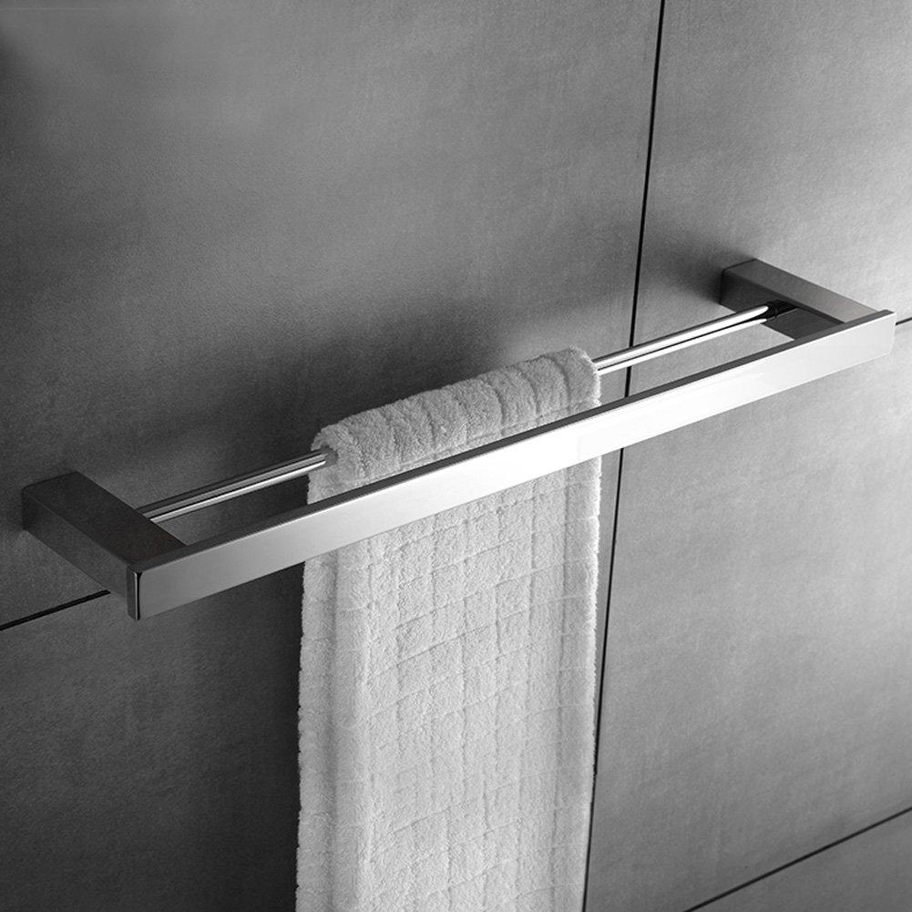 KOOLIFT 24 Inch Towel Bar and Shelf Rack Double Rail Set Bathroom Towel Holder Kitchen Organizer Storage Hanger Wall Mount Mirror Bright Stainless Steel Polished Chrome
